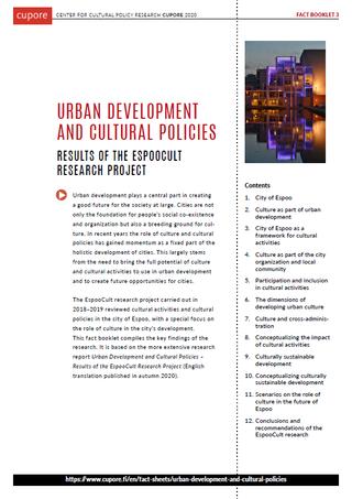 Urban development and cultural policies