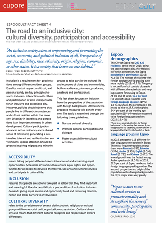 EspooCult Fact Sheet 4: The road to an inclusive city: cultural diversity, participation and accessibility