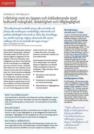 EspooCult-faktablad 4: I riktning mot en öppen och inkluderande stad: kulturell mångfald, delaktighet och tillgänglighet