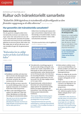 EspooCult-faktablad 2: Kultur och tvärsektoriellt samarbete